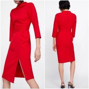 Zara draped dress, assymetrical hem w/ slit